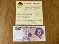 REPUBBLICA Lire 50000 BERNINI I TIPO D 1990 certificata BB/SPL SUBALPINA