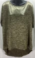 H&M Blouse Top Small 4 6 Gold Black Heather Stretch Scoop 1/2 Sleeve 673