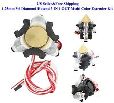 US 1.75mm V6 Diamond Hotend 3 IN 1 OUT Multi Color Extruder Kit for Prusa Reprap