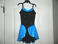 Girl's Ice Skating Turquoise w/Black Sequins Dress Size Large
