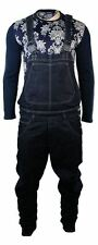 Mens Low Drop Crotch Arc Dungarees Jeans Washed Navy Blue Retro