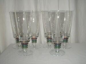 "6 Block Carnival Ice Tea Stemmed Glasses/Goblets 7 3/4"""