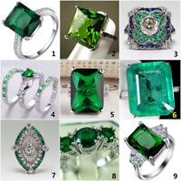 925 Silver Vintage Emerald Ring Women Wedding Bridal Fashion Jewelry Size 6-10