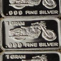Lot 30 X 1 Gram  .999  Fine Pure Silver Bar Bullion  /  Motorcycle  WPT427 oz