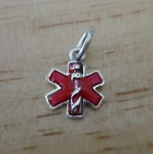 Sterling Silver Small 13x11mm Red Enamel Medical ID Alert Charm
