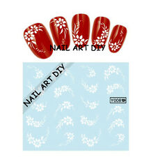 Nail Art Water Transfer Stickers Decals-Adesivi Unghie-Fiori Bianchi-BUY 3 Get 4