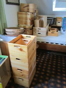 Holzkisten Kiefer Holz Kiste, stapelbar, Regale, versch. Größen