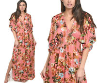 Women's Floral Print Kimono Long Maxi Dress Pink 3/4 Sleeve Smocked Waist V-Neck