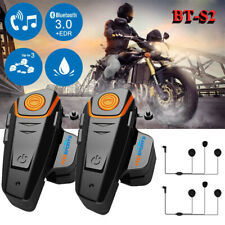 2x 1000M Motorcycle Helmet Intercom BT-S2 Motorbike Bluetooth Headset Waterproof
