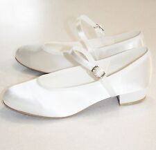 NEW Ivory or White Heeled Satin Flower Girl Holy Communion Shoes -Sizes Ch13-Ad5