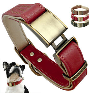 Genuine Leather Pet Dog Collars Heavy Duty Adjustable for Small Medium Dogs S M