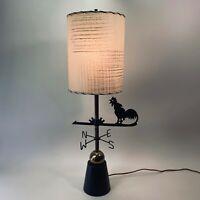 Vintage Atomic 50s MCM Schaffer Co. Rooster Blackened Brass Lamp Original Shade