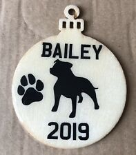WOODEN STAFFIE STAFFORDSHIRE DOG  PERSONALISED DOMED GEL CHRISTMAS TREE BAUBLE