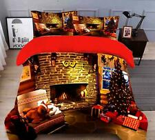 3D Warm Fireplace N476 Christmas Quilt Duvet Cover Xmas Bed Pillowcases Fay