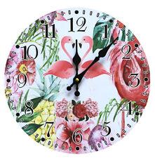 Flamingo Blumen Ananas Wanduhr Analog Küchenuhr Wohnzimmer Bunt Tropisch Uhr