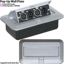 PRO Pop-Up Wall/Floor Plate & Back Box – 4 Pole SPKON & XLR Speaker/Amp Outlet