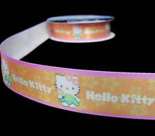 "5 Yds Hello Kitty Orange Pink Offray Satin Ribbon 7/8""W"