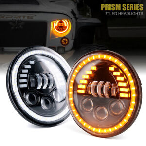 7 Inch LED Headlights Amber DRL Driving Lamp for 1997+ Jeep Wrangler TJ JK JL