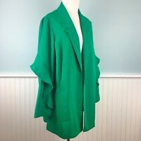 SIZE 1X Alfani Womens Plus Lightweight Green Ruffle Sleeve Blazer Jacket NWT New