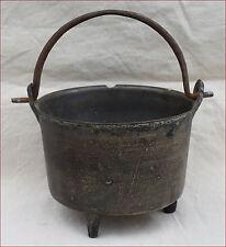 Antique German Bronze Cauldron Fire Cooking Pot Kettle Wrought Iron Handle 17 C