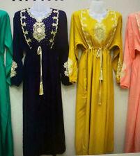 Marroqui perlas caftán óptica vestido Maxi vestido islamischekleid abaya robe amarillo