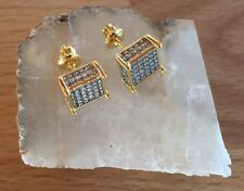 Men's 18K Gold Filled 0.5ct. Lab Created Diamond Cube Screw Back Stud Earrings