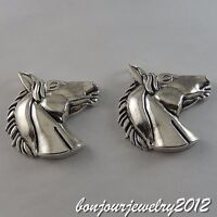 2pc Vintage Silver Alloy Horse Head Shape Charms Pendants Jewelry Crafts 50699