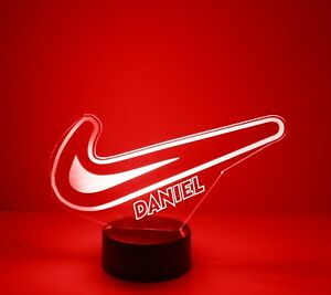 Nike Swoosh Engraved LED Night Light, with Remote Control, Light Up Nike Logo