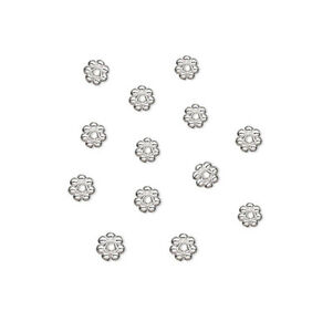 100 Silver Plated Daisy Spacer Beads 4MM