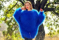 Blue hand knit mohair long sweater fuzzy slouchy oversized dress SUPERTANYA SALE