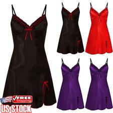 Womens Lace Satin Silk Lingerie Sleepwear Night Gown Babydoll Straps Sleep Dress