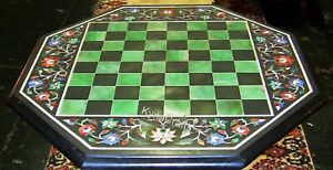 27 Inches Marble Patio Table Border Pattern Coffee Table Top with Check Design