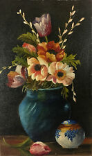 A Ambrosini Floral Paint Still Life Italy Art Oil on Board Sgned Vintage 00655