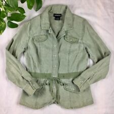 Athleta Khaki Green 100% Linen Drawstring Blazer Jacket Small