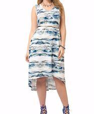 Jete Sleeveless Slinky Watercolor Hi-Lo Tank Dress Size 3X - Belt Not Included