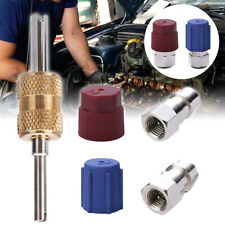 A/C R12 to R134a Retrofit Conversion Adapter 7/16 3/8 High Low Valves Tools Kit