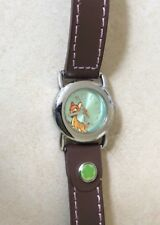 DISNEY BAMBI SILVER WATCH BROWN LEATHER STRAP BAND MODEL MU2040 CUTE BRAND NEW!