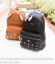 SALE! BNWT GUESS CARSON Stud Small Backpack Shoulder Bag Black Cognac
