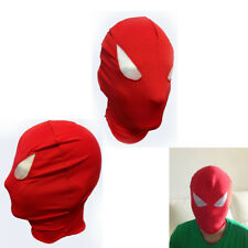Red Lycra Spandex Zentai Face Mask w/ White Mesh Eyes Halloween Costume Party OS