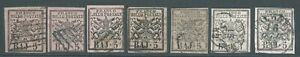 PAPAL STATES 1852 SG20/21 5b group x 7 good to fine used