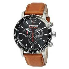 Wenger Men's Watch Roadster Chronograph Black Dial Brown Strap 01.1843.104