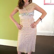 VTG 50s Tiered Lace Bombshell Pin Up Cocktail Dress Rhinestones Sydney North S