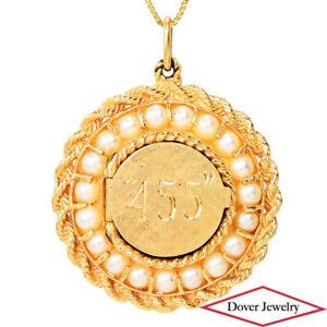 Estate Pearl 14K Gold ''455'' Engraved Round Cluster Pendant 19.6 Grams NR
