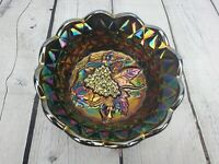 "Fenton Amethyst Carnival Glass 6"" Scalloped Candy Dish Bowl Grapes Vine"