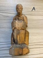 African Wooden Tribal Statue Of A Man With Drum