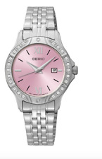 NWOT Women's Seiko SUR863 Stainless Steel Crystal Accent Pink Quartz Dial Watch