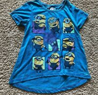 NWT Girls Blue Green Short Sleeve Minions Top Small 6/6X