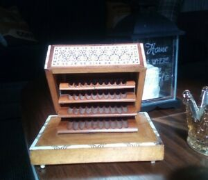 Antique Vintage Musical Wooden Marquetry & Mother of Pearl Inlaid Cigarette Box