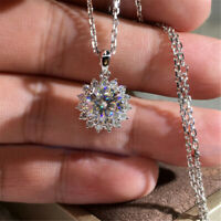 Fashion Women Round White Sapphire CZ Pendant Necklace 925 Silver Party Jewelry