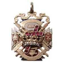 Masonic  Jewel 14kt Yellow Gold Enamel Diamonds Rubies